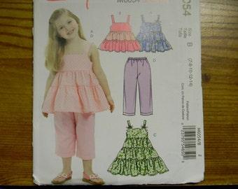 Uncut Mccalls Pattern 6054 Size 3,4,5,6 Girl's Tops, Dresses and Capri Pants