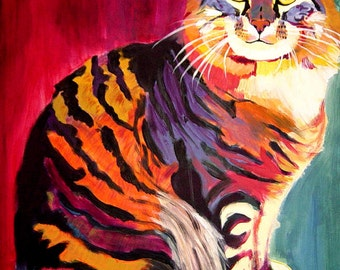 Manx Cat, Pet Portrait, DawgArt, Cat Art, Pet Portrait Artist, Colorful Pet Portrait, Manx Cat Art, Art Prints, Cat, Art, Kitty Art