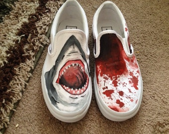 Nautical jaws shark blood painted canvas white vans