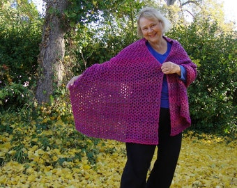 Crochet Shawl, Crocheted Shawls, Shawls, Shawl, Ambrosia Shawl, Wraps Shawls, Gift for Her, Nursing Home Gift, Magenta Wrap, Handmade