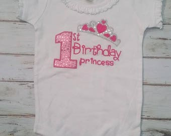 CLEARANCE BOUTIQUE Embroidered First Birthday Princess Flutter Sleeved Onesie  Ready To Ship!! Size 18-24m