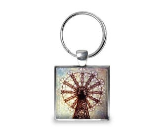 Parachute Jump in Coney Island - Glass Photo Keychain - Handmade