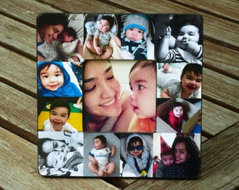 """Personalized Mother's Day Gift, Baby's First Year Frame, Baby Picture Frame, Unique Baby Gift, Custom Photo Collage, Father's Day, 8"""" x 8"""""""