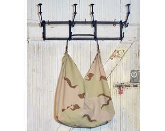 Everyday Printed Cotton Bag w/ Leather Handle - Sand Camouflage Print - Market Bag - Reusable Bag - Tote Bag - Origami Bag - Size L