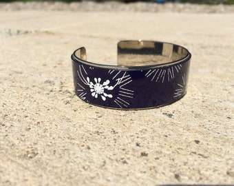 Navy leather bangle