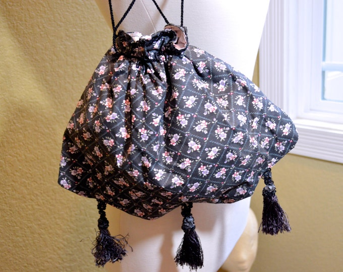 Vintage Black Purse, Floral,Handmade,Tassel Detail,Fully Lined, Steampunk, BoHo,Hippy