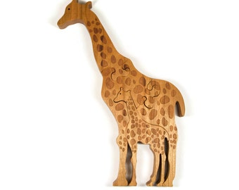 Wooden Giraffe Puzzle, Wooden Giraffe Toy, Giraffe Puzzle, Giraffe Toy, Baby Giraffe Toy, Personalized Puzzle, Kid Puzzle