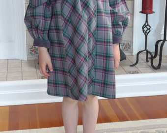 Little Girl's Grey Plaid Dress