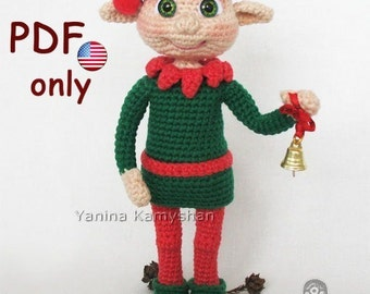 Crochet pattern - Christmas Elf amigurumi doll (English)