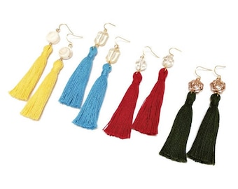 Hippie tassel earrings. Bohemian earrings. Long earrings. Gypsy earrings. Tassel jewels. Friendship earrings. Ethnic earrings. Gift for her.