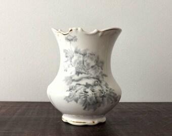 KTK Gray Transferware Vase, Vintage Knowles Taylor Knowles, White & Gray Transfer Ware Flower Vase