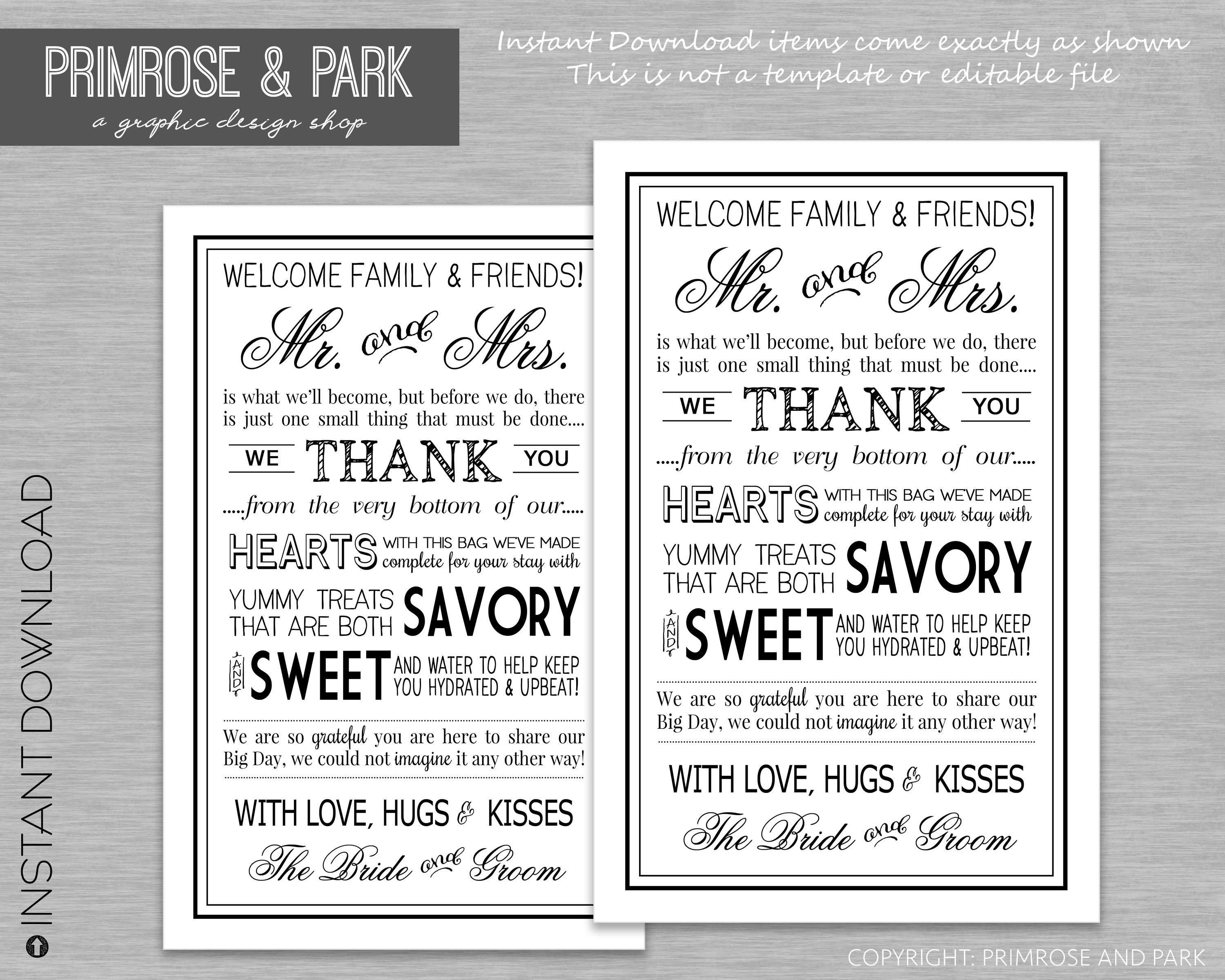 Wedding welcome letter printable pdf in black wedding zoom pronofoot35fo Gallery
