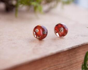 Mushroom ⇷10mm⇸ stud earrings | Amanita mushroom studs | Fly agaric everyday jewelry | Amanita Dried mushroom | Real Agaric fungus jewelry