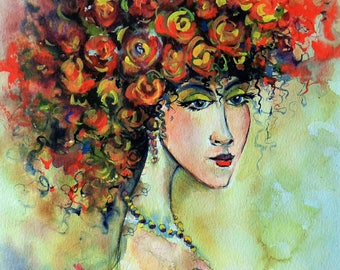 """Watercolor, giclee print on high quality watercolor paper """"Lady in red"""""""