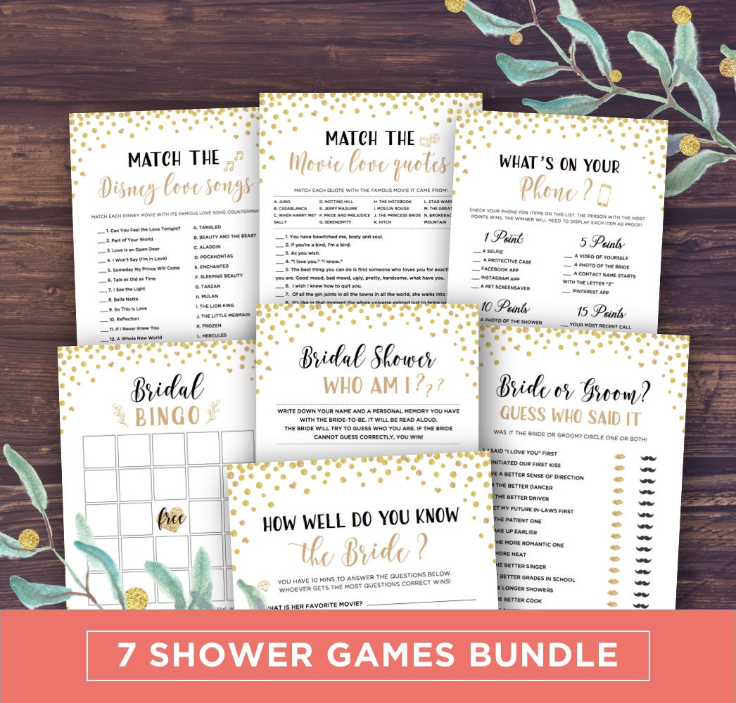 Bridal Shower Games Printable Package Wedding Shower Games