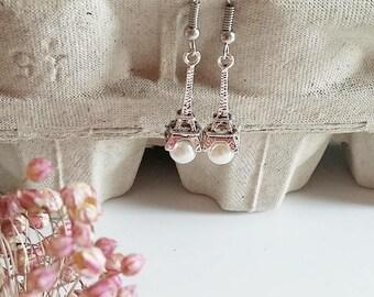 Pendant earrings, Eiffel Tower earrings, pearl earrings, original earrings, silver earrings, girl earrings, Paris,