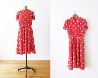 Red Polka Dot Dress / Red White Polka Dot Sundress / Minnie Mouse / 80s Dress / Red Sundress / Silk Dress Small / Vintage Red Dress