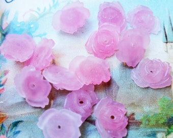 VINTAGE x 4 pink glass flower bead, vintage pink glass bead, vintage pink flower bead