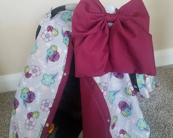 Carseat Canopy Floral Maroon girl infant carseat cover