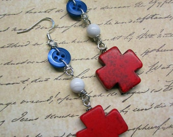 Repurposed Button Beaded Red Cross Charm Earrings