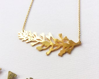Shepherd's purse plant- Necklace- Nature - gift- gold necklace