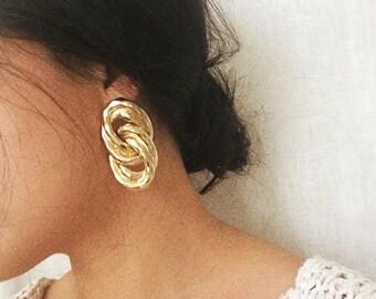 Gold Tone Chain Link Modern Minimalist Earrings