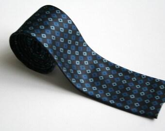 Square necktie, silk necktie, navy blue royal blue necktie, 80's fashion, vintage necktie, woolen neck tie