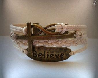 Christian Bracelet, Religious Gift, Christian Jewelry, Infinity Cross Infinity Bracelet, Faith Bracelet, Charm Bracelet, Friendship bracelet
