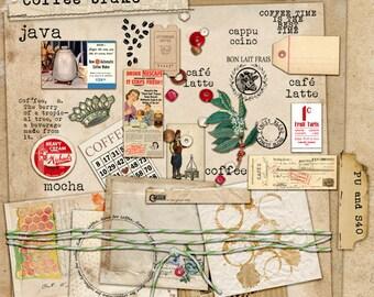 Art Journal Kit Coffebrake for Scrapbooks Art Journals Tags Cards ACEO