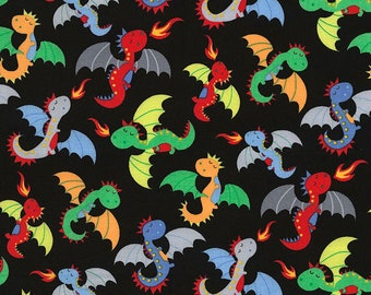 Dragons on black, from Timeless Treasure's Knight in Shining Armor Collection , 1 yard