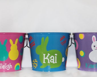 Personalized Children's Pail - Metal - Easter - Egg Hunt - Candy - Chocolate - Gifts - Bedroom - Storage - Toy Bin - Organization - Present