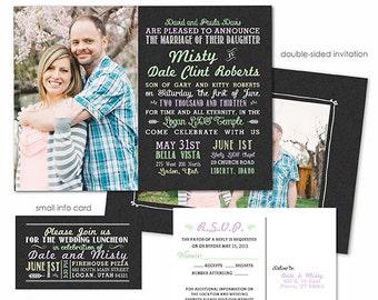 Photoshop Template - Chalkboard Wedding Invitation - Photo Card WA108