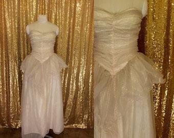 Vintage 1970s Dress // Iridescent Ruffle Dress // Alternative Wedding Dress // Vintage Prom Dress // Formal Gown Strapless Dress