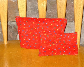 Zippered Pouch with Tissue Cozy-Red with Colored Stars (Zip 38-G)