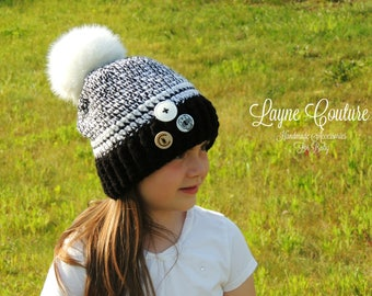 Black and White Crochet Winter Beanie Hat with Pom Pom and Skull Button / Winter Hat / Adult and Child Sizes