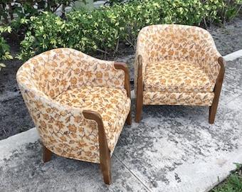 SHORT STACK / Pair Of Wm. A Berkey For Widdicomb Barrel Chairs / Original  Tag