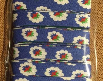 SOULEIADO Bias Tape, Floral Sewing Tape, La Fleur de Maussane, Flower Fold Bias Tape, Blue Tape, bt02