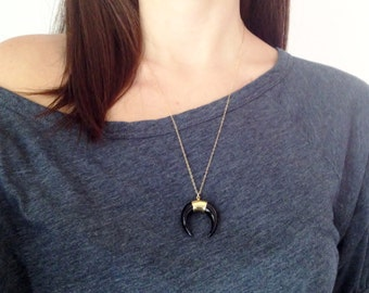 Double Horn Necklace - Black Buffalo Horn Crescent - Gold Filled - Bohemian Jewelry