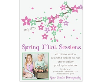Spring Mini Session Template for Photographers, Editable Photoshop Template - INSTANT DOWNLOAD