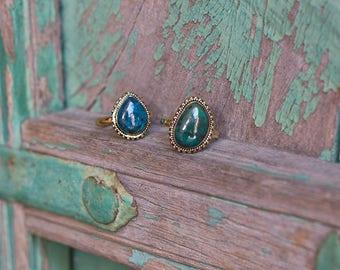 Ring Brass Stones Natural Turquoise / Bague en laiton et turquoises naturelles