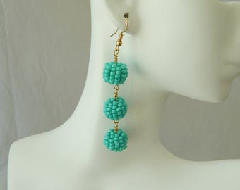Turquoise beaded drop earrings, seed bead earrings, long dangle earrings, turquoise and gold, summer jewelry, festival chic style