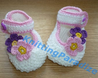 baby girl shoes with flowers, baby girl mary jane shoes, knitted baby girl shoes, handmade baby girl, photo Props, baby gift