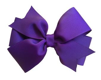 Dark purple hair bow - hair bows, bows, hair bows for girls, toddler bows, baby bows, girls bows, girls hair bows, hair clips, hairbows, bow