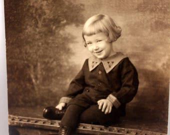 Cute Boy in Short Pants Studio Photograph 1923 Sepia