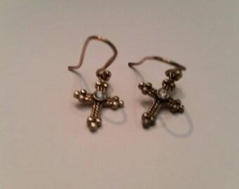 Sterling Silver Cross Earrings Dangle Crucifix 925