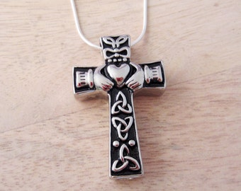 Claddagh Celtic Cross Necklace - Hollow Capsule Pendant - Keepsake Jewelry - Ashes Urn Necklace - Cremation Memorial Jewelry