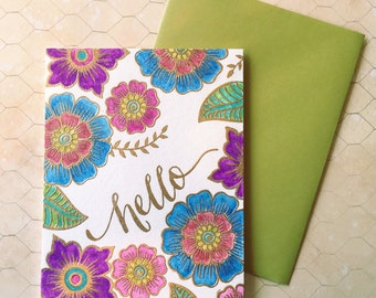 Purple Blue Yellow Turquoise Handmade Fancy Script Henna Cards, Hello Cards, Thinking of You Cards, Flower Doodle Cards, Just Because Cards