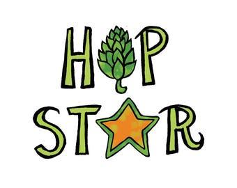 Craft Beer - Temporary Tattoo - Hop Star - Beer Fan - Foodietoo