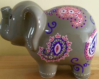 Personalized Large Gray Pink Paisley  elephant Piggy Bank Nursery Decor Newborn, First Birthday,Girls,Flower Girl,Baby Shower Centerpiece