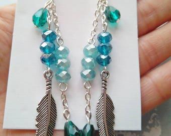Boho earrings, Tibetan silver feather, Czech crystal, long earrings, earrings chains